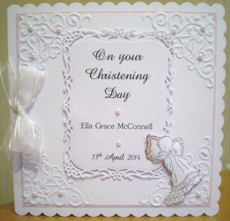 Baby girl christening card using Spellbinders. Baby image is stamped