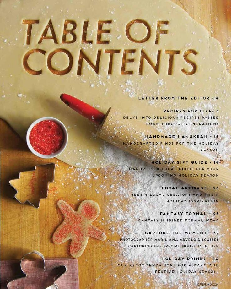 OFFSPRiiNG Magazine - Holiday table of contents
