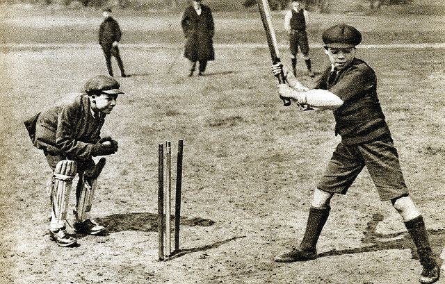 Boys playing cricket on Parliament Hill Fields,1920s