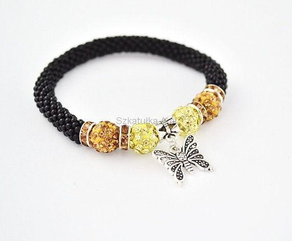 Bracelet bangle  rubber beads Shamballa beads seed by SzkatulkaAmi