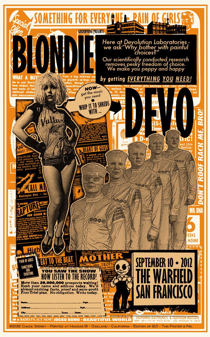 Classic Rock Posters | THE ROCK POSTER FRAME BLOG: Blondie  Devo at The Warfield Poster ...