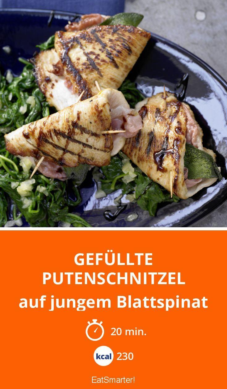 Gefüllte Putenschnitzel - auf jungem Blattspinat - smarter - Kalorien: 230 kcal - Zeit: 20 Min. | eatsmarter.de