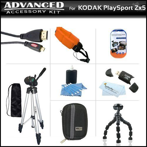 Essential Accessories Bundle Kit For Kodak PlaySport (Zx5) HD Waterproof Pocket Video Camera (2nd Generation) NEWEST MODEL, PLAYFULL CAMERA Includes Hard Shell Case + USB 2.0 Card Reader + Micro HDMI Cable + Tripod + Flexible Tripod + Float Strap + More by Butterfly. $29.95. Product Description Kit Includes:♦ 1) Xtreme - (6FT) HDMI Male to Micro HDMI  - Connect Your Camera / Camcorder Directly To Your HDTV♦ 2) Zeikos - Zeikos Floating Strap For Underwater Cameras - K...