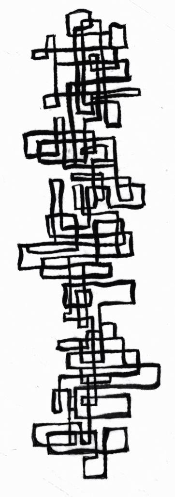 Sketch for batik composition based on golden mean grid. Kevin Houchin