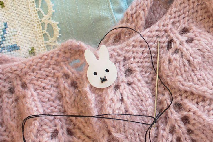 """Lave selv """"Miffy kanin"""" knapper i krympeplast"""