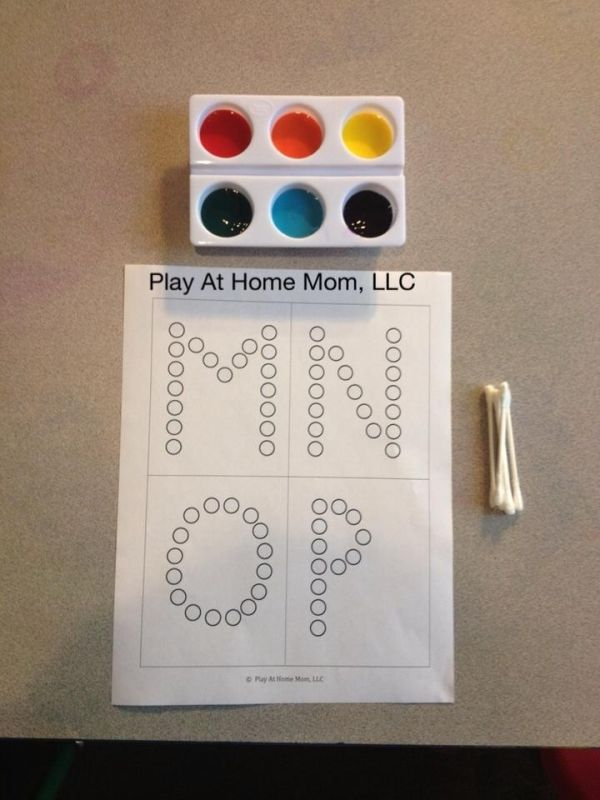 Q-Tip Painting with Letter and Number Templates. (Instead of kiddo writing them every time! What a great idea!) by robin.dicken