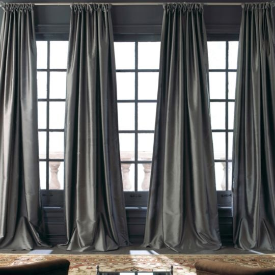 Silk Curtains but in dusty rose colour. Love the single curtain rod across the top op the windows.