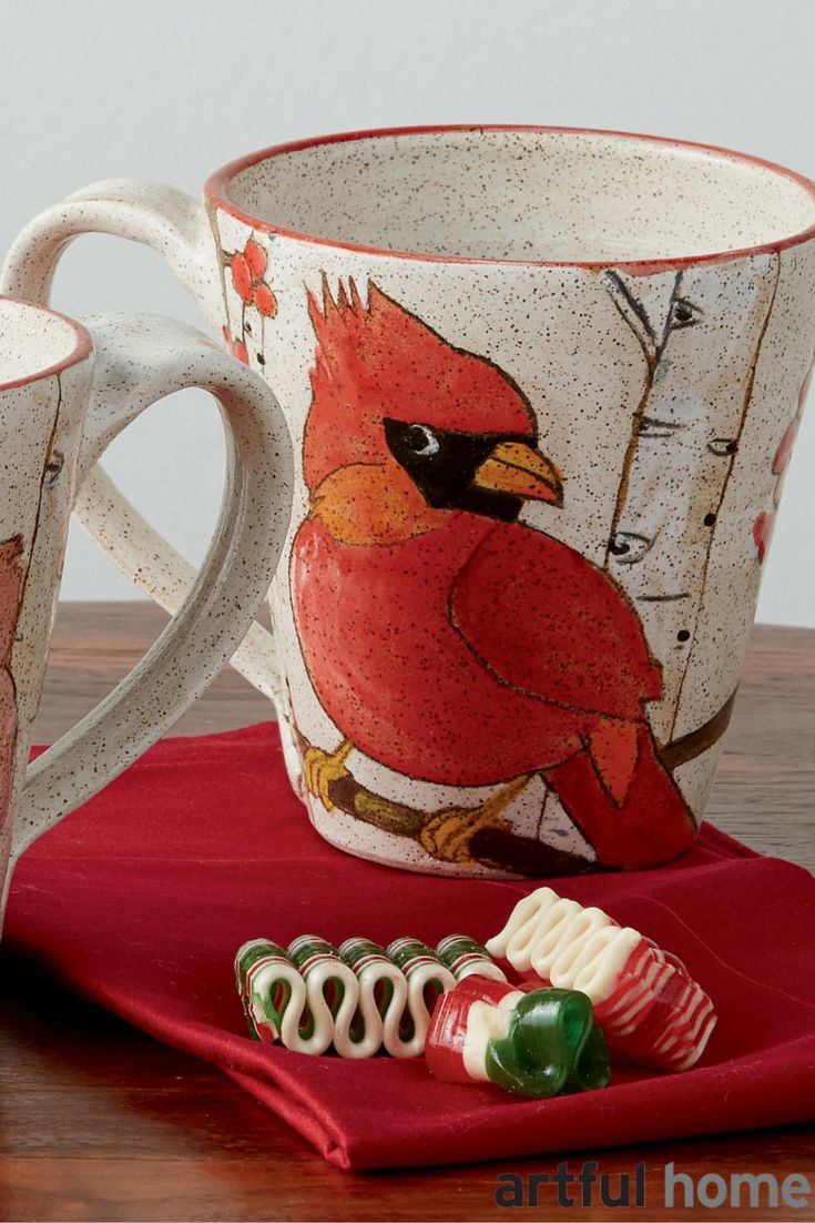 Wrapping your hands around a hot cup of coffee or cocoa is a wonderful way to enjoy chilly winter weather. Mugs made by artists are perfect gifts, like these handpainted Cardinal Mugs made by Dwo Wen Chen. Holiday gifts, stocking stuffers, teacher gifts -- handmade mugs are a fabulous choice.