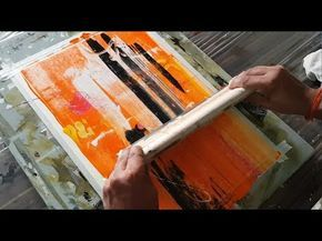 (552) Abstract painting / Simple / Just using rubber squeegee / Acrylics / Demonstration - YouTube