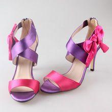 Dulce satén cruzadas banda arco sandalias de dos colores surtidos de novia zapatos de boda del partido de baile hotpink de encargo púrpura colores bowknot(China (Mainland))