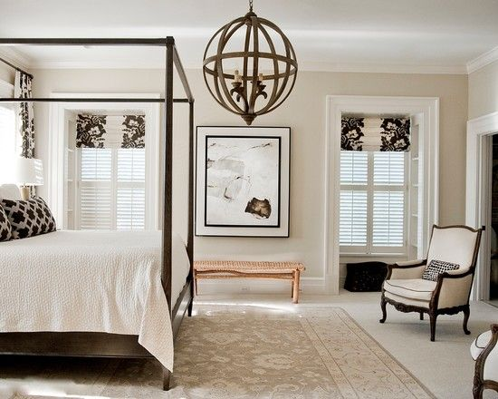 Charming Conventional Bedroom With Stunning Black And White Room Decor  Concept Also Unique Chandelier Design