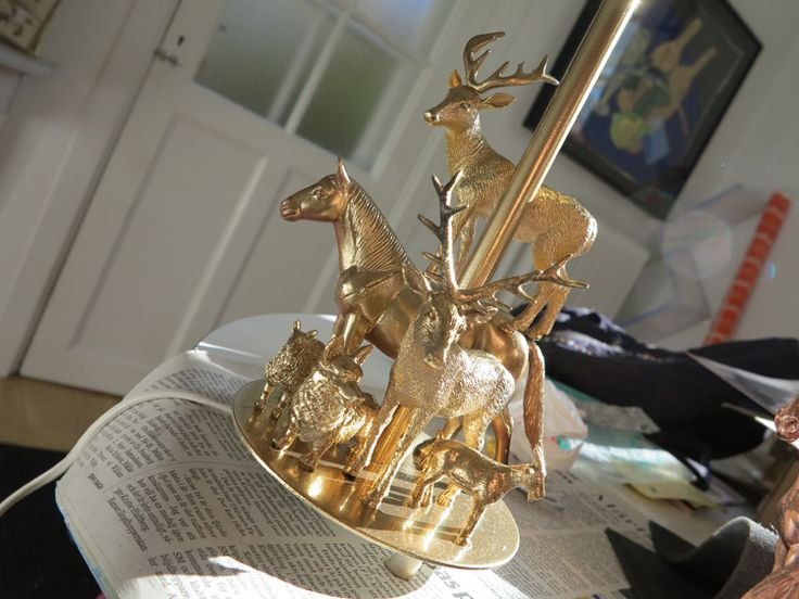 DIY alert! plastic toys + old lamp + gold spray = fantastic new lamp!                                                                                                                                                                                 More