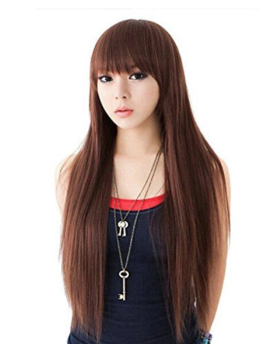SuperWigy Wigs for Sale 25 Long Straight Hair Full Bangs Womens Party Wig Black ** Check this awesome product by going to the link at the image.Note:It is affiliate link to Amazon.