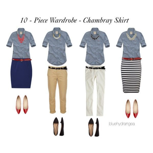 10 - Piece Wardrobe - LOVE THIS! Chambray Shirt by bluehydrangea on Polyvore - mens black shirt with white buttons, mens denim shirt button down, burgundy shirt mens *ad
