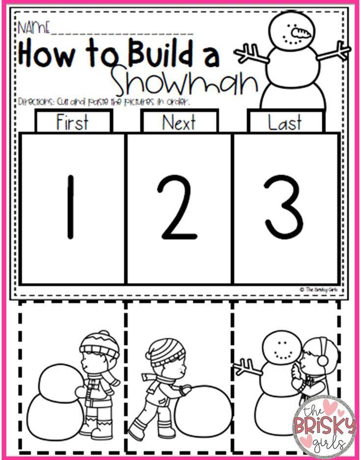 Winter Activities Winter Activities For Kids Winter Activities Pres Winter Activities Preschool Sequencing Activities Kindergarten Winter Activities For Kids Snowman sequencing worksheet free