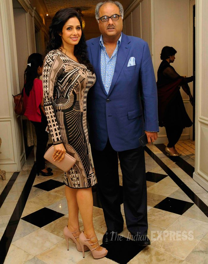 Sridevi in a mauve Emperley London dress which that she teamed with nude pumps and clutch. Seen here with husband Boney Kapoor. #Bollywood #Fashion #Beauty #Style #Page3