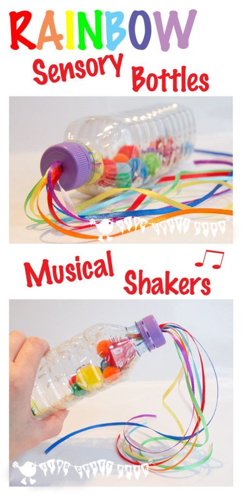 RAINBOW SENSORY BOTTLES A bright and colourful sensory play activity and a musical instrument too. Great fun for all ages.