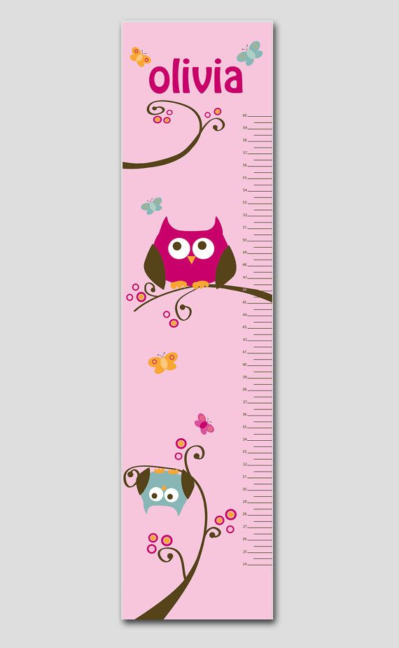 This personalized growth chart features playful owls and butterflies that are perched and waiting to be hung on your wall. Perfect for your newborn's nursery, child's bedroom or playroom. Makes a thoughtful gift, coordinates with several popular nursery decor lines and best of all is completely personalized with your child's name.