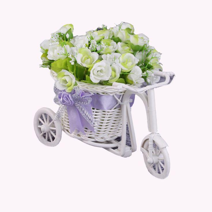 2017籐三輪車バイク花バスケット花瓶収納ガーデンウェディングパーティー装飾オフィス寝室保持キャンディギフト