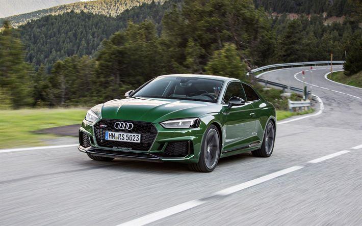 Télécharger fonds d'écran Audi RS5, 2018, 4k, vert RS5, coupé sport, voitures allemandes, route de montagne, les Alpes, les Audi