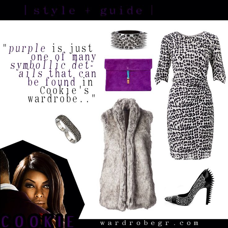 """""""Purple, symbolic of royalty, represents a common reference in Cookie's closet"""" #TeamCookie #CookieLyon #EmpireFox   Leopard Dress, Purple Clutch, Faux Fur Vest, Spiked Heel, Spiked cuff  """