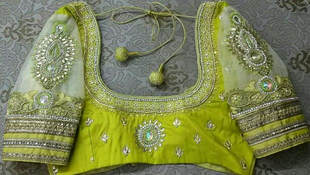 Pattu blouse with net hands maggam work 91 9866583602 whatsapp no 7702919644
