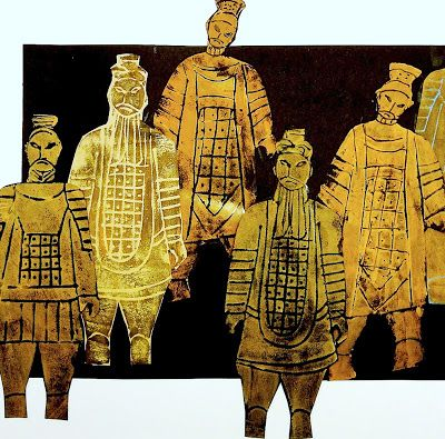 arteascuola blog: Terracotta Army printed with craft foam. Easy - great group art project!
