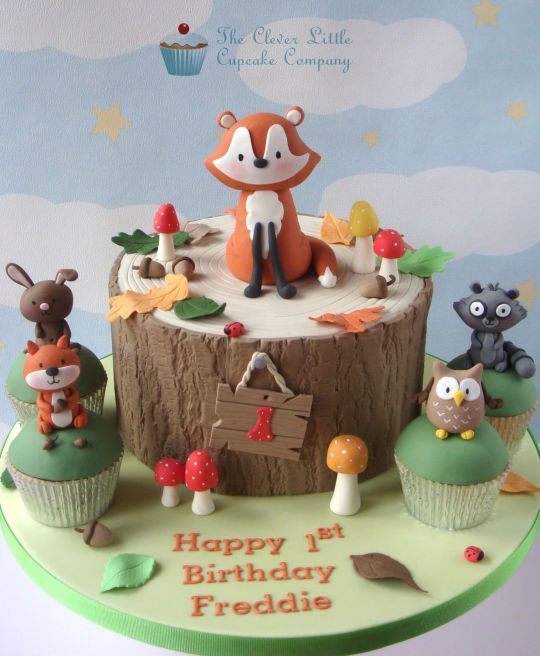 Woodland Themed 1st Birthday Cake - Cake by The Clever Little ...