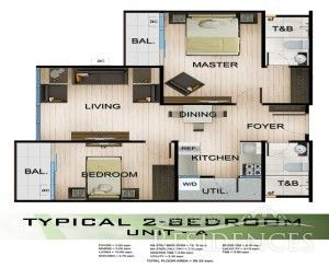 Amandari 2 Bedrooms Unit – A (Floor Plan) Floor Area: 55.33 sq.m. Pre-selling Price: 3,780,843.50 Note: Price may increase without prior notice.