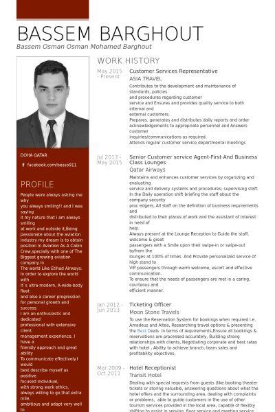 customer services representative Resume example
