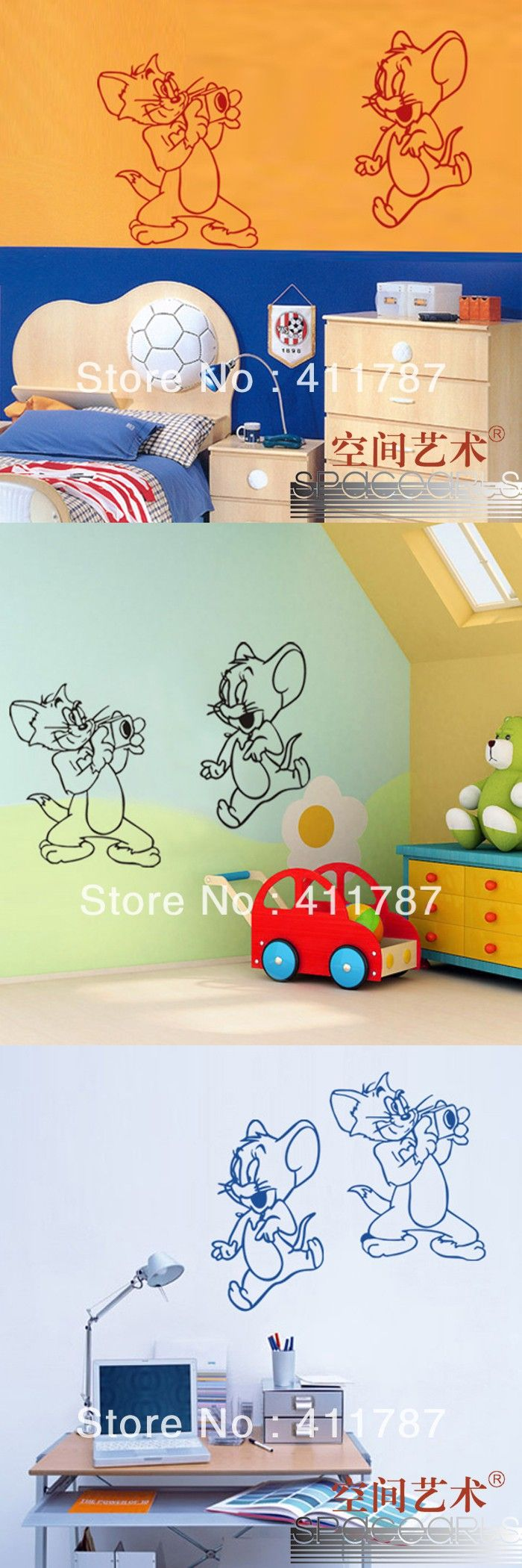 Froggies nursery wall decals by couture d 233 co - Free Shipping Home Decor Beautiful Cute Tom And Jerry Pattern Kids Bedroom Wall Stickers Wall Decals