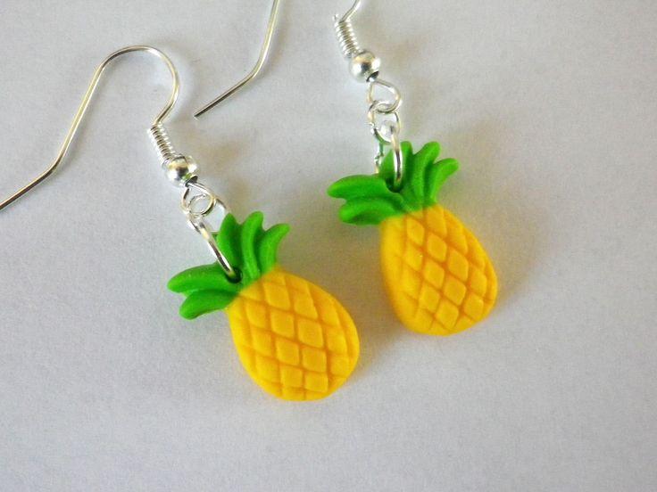 boucles d'oreilles ananas fruit jaune et vert perles été : Boucles d'oreille par fimo-relie
