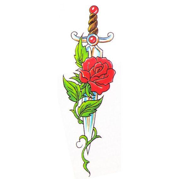 Temporary Tattoo Rose sword - 2x3 inch