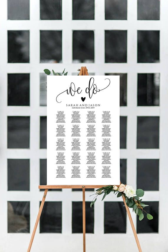 Wedding Seating Chart Editable Table Seating Template Sign