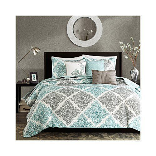 i love this light grey and blue luxurious soft and cozy king bedding comforter sets - California King Bed Sheets