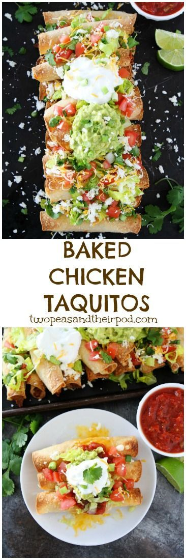 These easy Baked Chicken Taquitos are stuffed with chicken, cheese, and make a great appetizer or meal. Top them with your favorite Mexican toppings! They are fun to make and freeze well too!