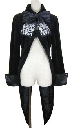 black coat with bow