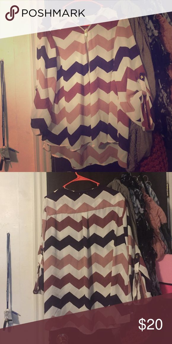 New Rue 21 high-low chevron top Pretty chevron pattern in blush tones. Only worn once! Rue 21 Tops Blouses
