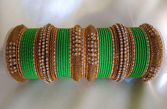 Greean and Golden Indian Designer Bangles Set by Shoppingover