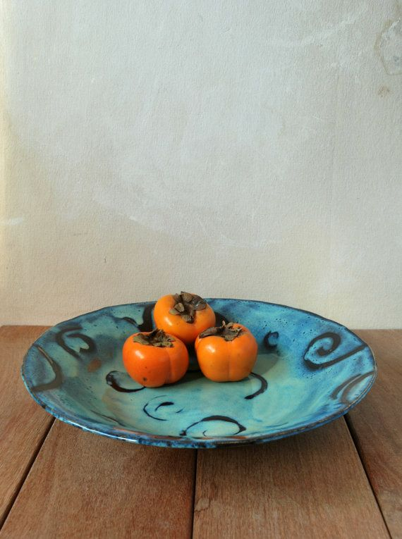 Large Ceramic Bowl Ceramic Serving Bowl Fruit by ShellyClayspot