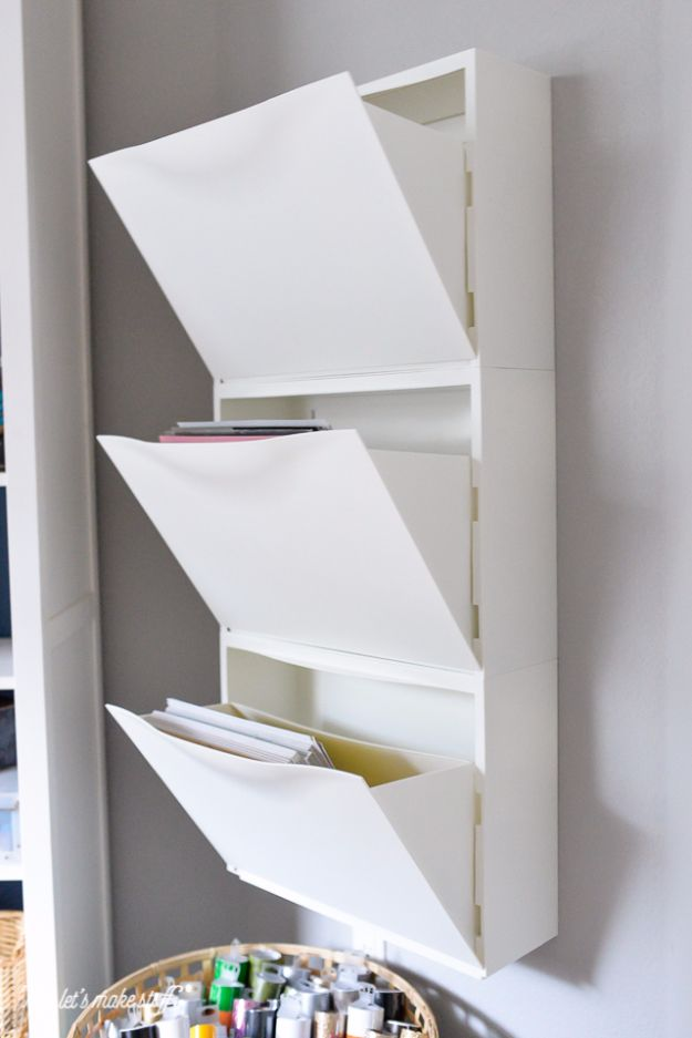 Best IKEA Hacks and DIY Hack Ideas for Furniture Projects and Home Decor from IKEA - IKEA Hack Shoe Holder For Paper Storage - Creative IKEA Hack Tutorials for DIY Platform Bed, Desk, Vanity, Dresser, Coffee Table, Storage and Kitchen, Bedroom and Bathroo