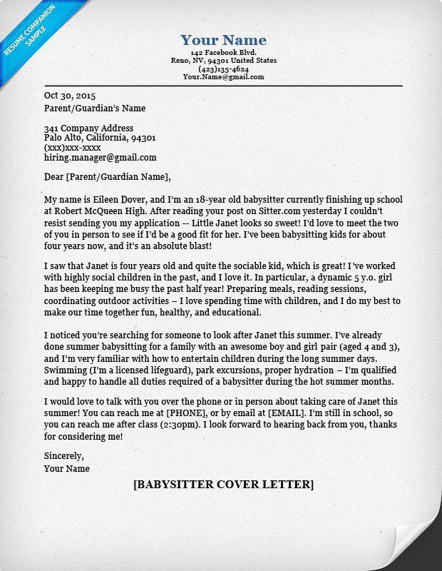babysitter cover letter sample amp tips resume companion fotolip - babysitter cover letter