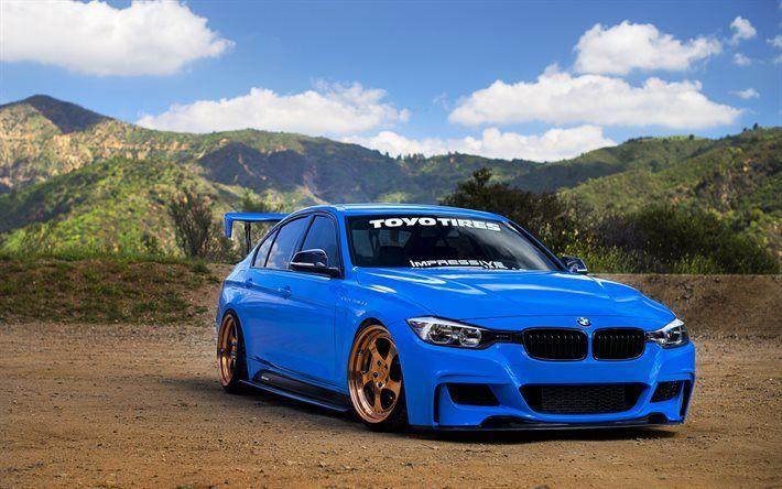 Scarica sfondi BMW M3 F80, 2016 auto, tuning, supercar, blu m3, BMW