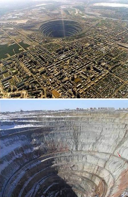 Mirny Diamond Mine (Siberia). It's an absolute beast and holds the title of largest open diamond mine in the world. The mine is 525 meters (1,722 ft) deep and has a diameter of 1,200 m (3,900 ft), [1] and is the second largest excavated hole in the world, after Bingham Canyon Mine. The airspace above the mine is closed for helicopters because of a few incidents in which they were sucked in by the downward air flow.