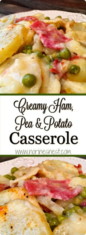 This is my Grandma's original recipe for creamy Ham, Pea, & Potato Casserole. It's 100% pure comfort food and the perfect way to use up left over Holiday ham! It's SO YUMMY and Super Easy! You'll love it!
