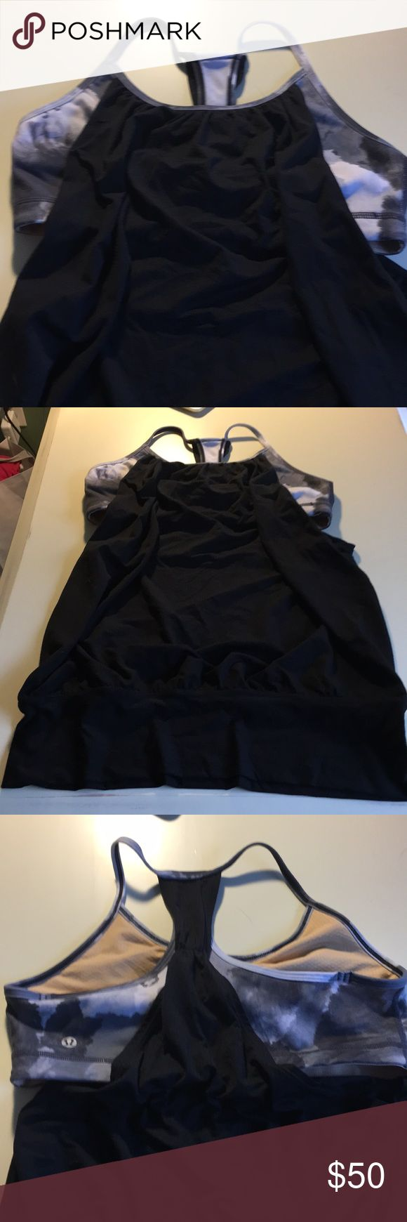 Lululemon support bra mesh tank Black mesh lululemon tank with fun black, white bra. Worn once size 8. lululemon athletica Tops Tank Tops