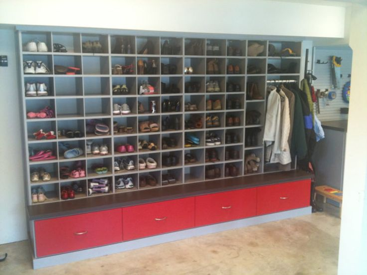 Large Wall Unit Garage Shoe Storage With Hanger For Coat And Red Drawers