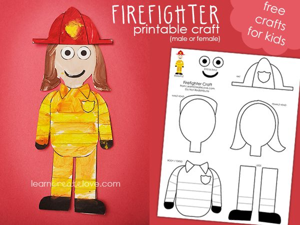 For community helpers, respecting authority: printable firefighter and police officer craft from learn create love.