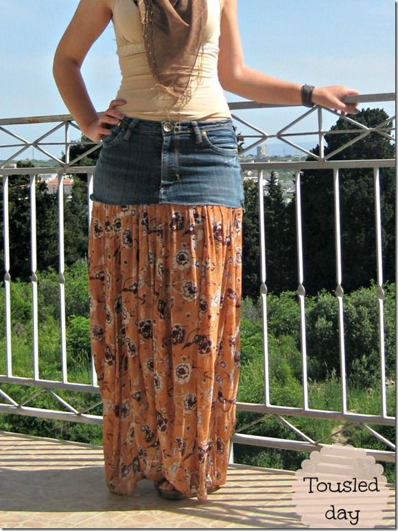 gypsy skirt with recycled jeans...would do with a polka dot or chevron for our Disney trip!  OR just linen