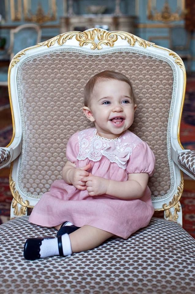 """Princess Madeleine of Sweden posted this lovely photo of her daughter, Princess Leonore, on her Facebook-page with the caption: """"Leonore, our little sunshine, turns 1 years old today!"""""""